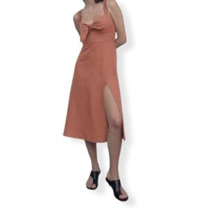 Zara linen cotton bow midi dress
